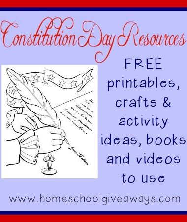 Make Constitution Day (Sept 17th) come alive with these fun printables, crafts, activities, books and videos.