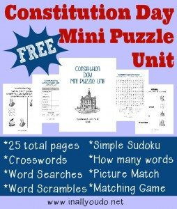 FREE Constitution Day Mini Puzzle Unit
