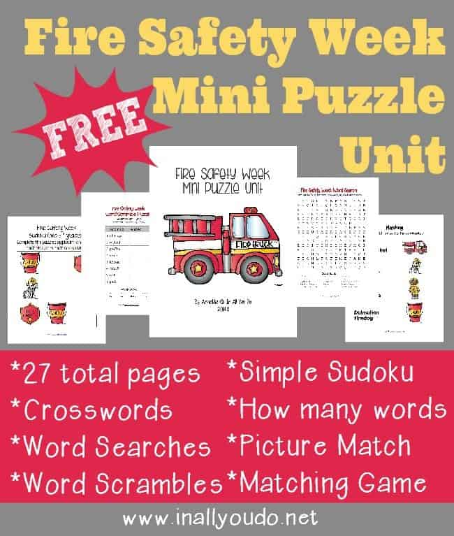 FREE Fire Safety Week Mini Puzzle Unit