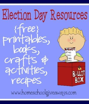 Your kids will have fun learning all about Election Day with the great resources - Mock Election ballots, recipes, crafts, books & MORE!!