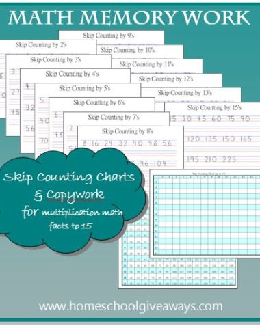 Math Memory Work Charts & Copywork by sproutingtadpoles.com