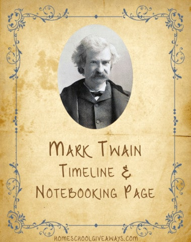 American Authors Notebooking Page and Timeline-Mark Twain