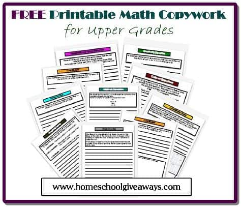FREE Math Copywork by sproutingtadpoles.com
