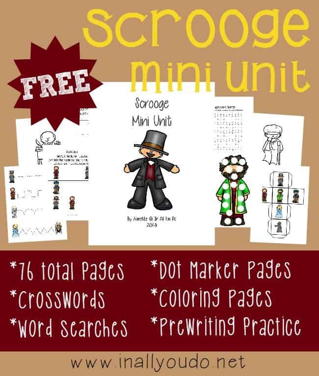 FREE Scrooge Mini Unit {76 pages} of activities for Tots to 5th grade!!