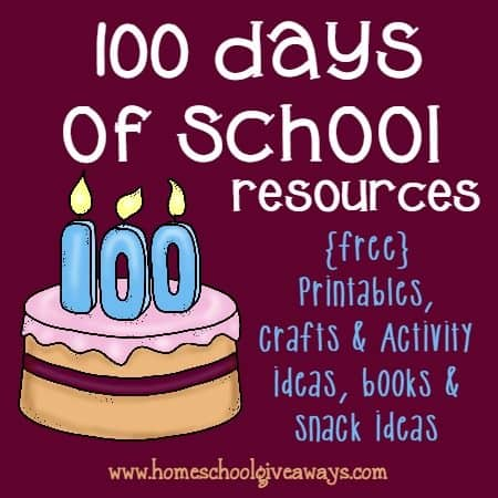 The 100th Day of School is something to celebrate! Here are some great {free} printables, crafts, teacher resources and MORE!!! :: www.homeschoolgiveaways.com