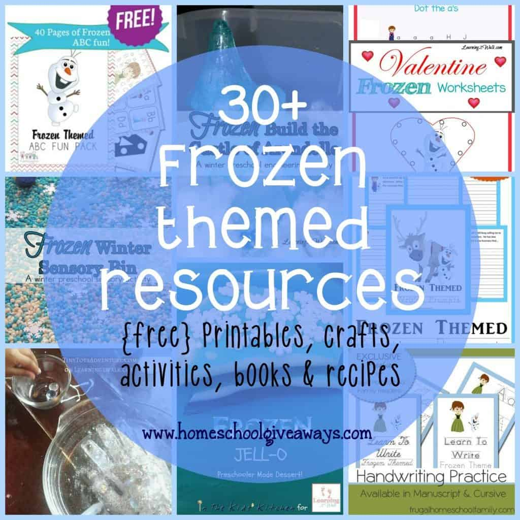 """Your kids will love having a day full of fun """"Frozen"""" themed learning and activities!! Over 30 ideas and resources! :: www.homeschoolgiveaways.com"""