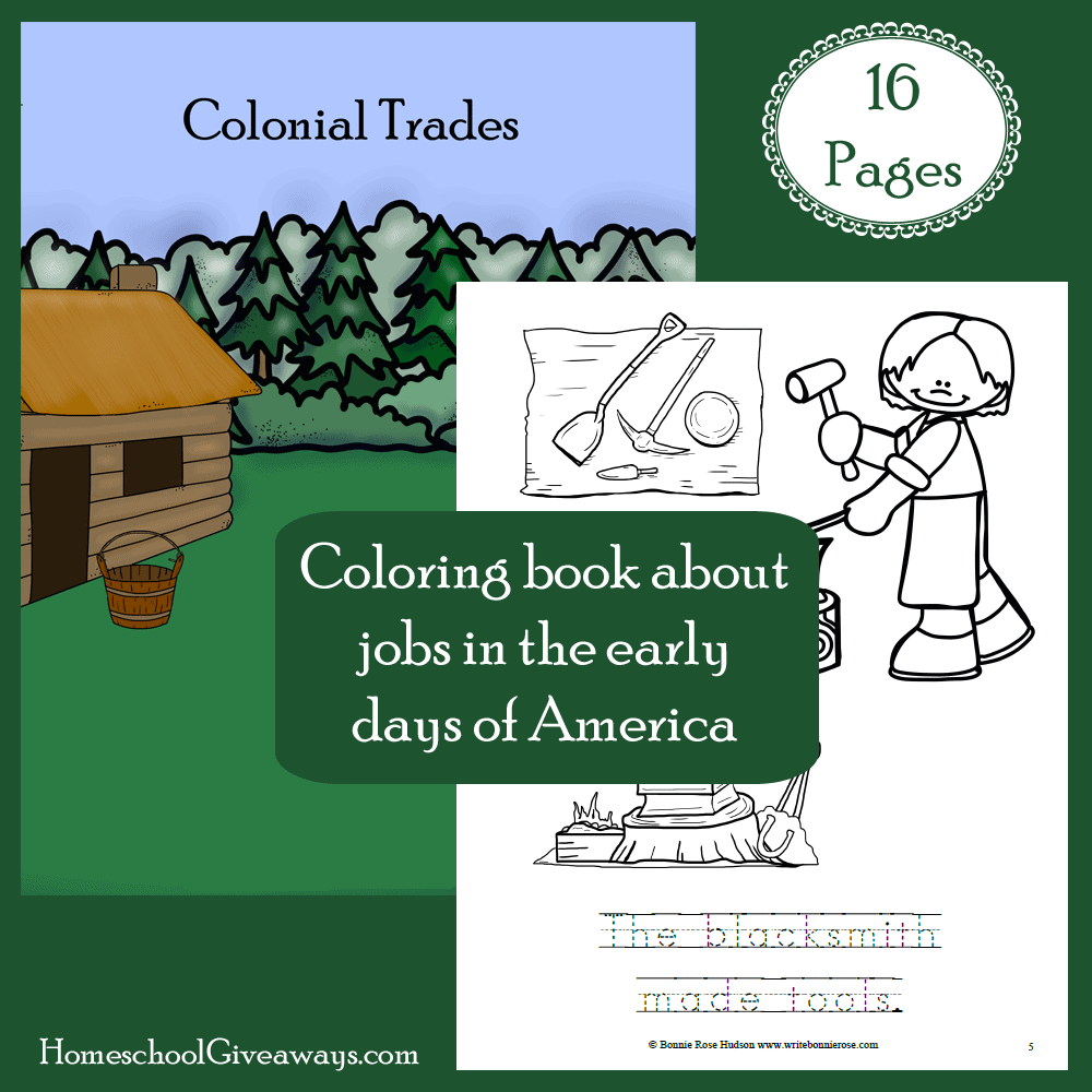Colonial Trades Coloring Book Free on Homeschool Giveaways