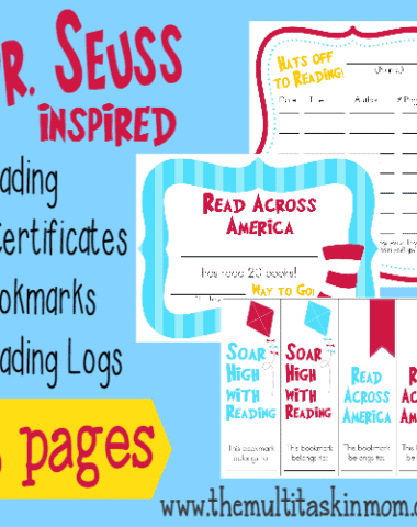 Get kids excited about reading with these fun Dr. Seuss inspired Reading Certificates, Reading Logs & Bookmarks! :: www.homeschoolgiveaways.com