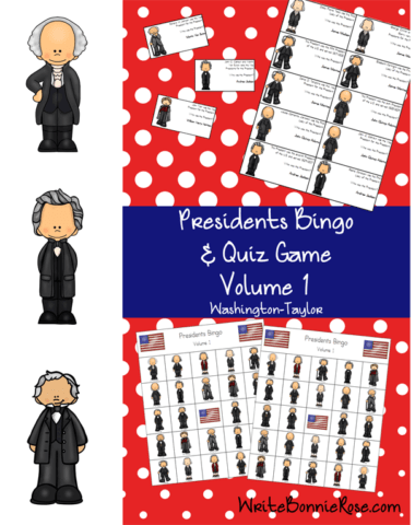 US Presidents Bingo and Quiz Game, Volume 1