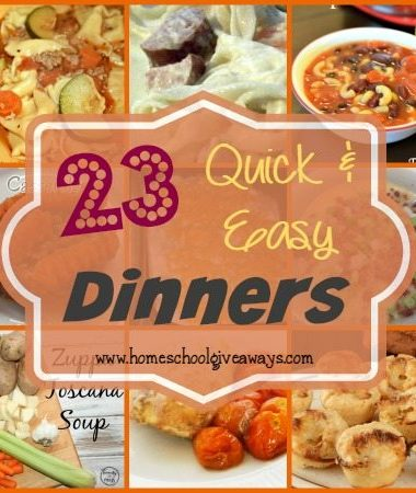 No matter how much I plan dinners seem to go awry. Here's 23 Quick & Easy Dinners to help you out!! :: www.homeschoolgiveaways.com