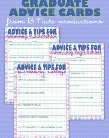 Advice Cards for Middle School, High School, and College www.homeschoolgiveaways.com Print out these cards and gift them to a new graduate or an upcoming high school student to help them along on their new journey!