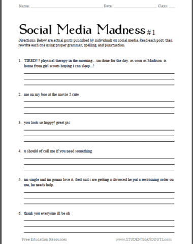 Learn Grammar by Correcting Social Media Posts! www.homeschoolgiveaways.com Have fun while learning grammar with this social media worksheet!