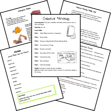 FREE Printables for Creative Writing www.homeschoolgiveaways.com Teach creative wirting to your middle school students using these free printables and lessons ! 9 weeks' worth available.