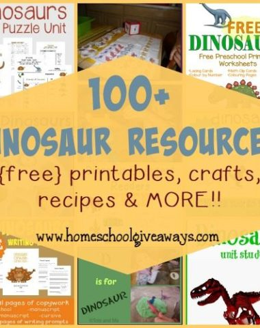 Kids will love learning more about Dinosaurs with these 100+ Activities, Crafts, {free} printables, recipes & MORE!! :: www.homeschoolgiveaways.com