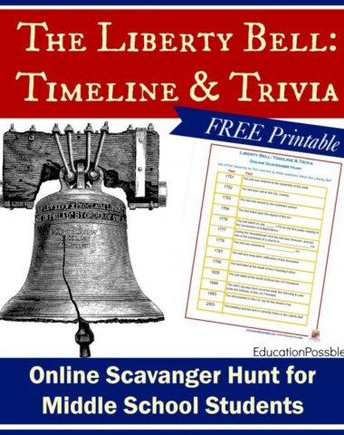 FREE Printable Liberty Bell Scavenger Hunt www.homeschoolgiveaways.com Download this FREE scavenger hunt and have a blast learning with your middles school class!