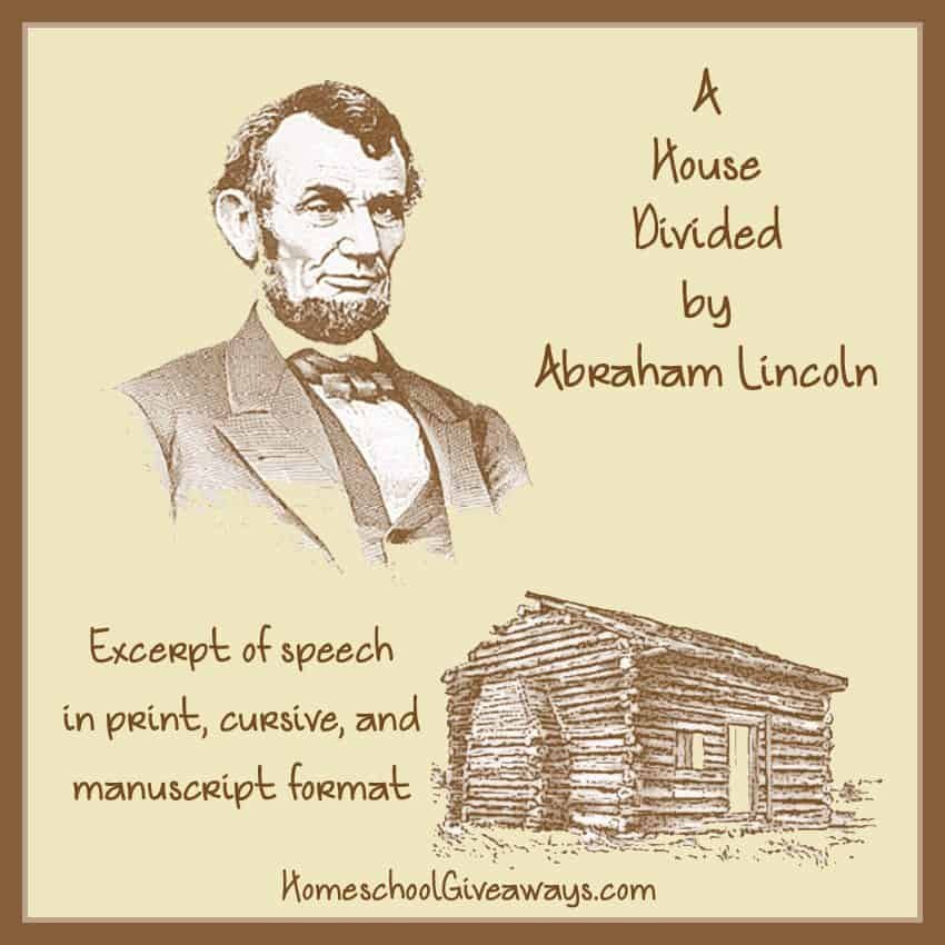 Abraham Lincoln Handwriting Practice A House Divided Speech Excerpt