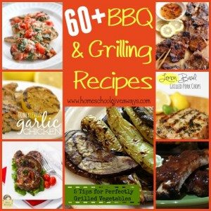 It's that time of year again, when you get outside and fire up the grill. Check out these 60+ BBQ & Grilling Recipes! Includes Desserts & sides too! :: www.homeschoolgiveaways.com