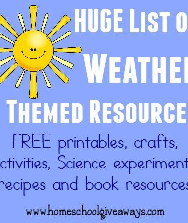 Weather can be so much fun to study. Check out this HUGE list of Weather themed resources including FREE printables, crafts, activities & MORE!! :: www.homeschoolgiveaways.com