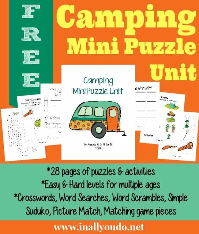 sample pages of FREE Camping Puzzles & Activities