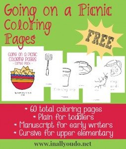 FREE Going on a Picnic Coloring Pages
