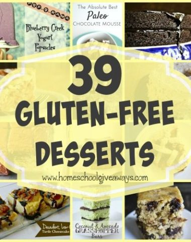 Desserts is one of those things I miss being Gluten-Free. But, now there are some SUPER yummy recipes out there!! Check out these 39 Gluten-Free recipes!! :: www.homeschoolgiveaways.com
