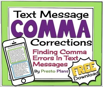 FREE Text Message Activity to Learn About Comma Usage www.homeschoolgiveaways.com Learn appropriate comma usage while texting with this FREE activity!