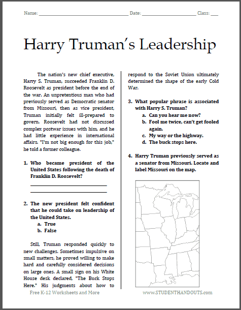 FREE Harry Truman Handout www.homeschoolgiveaways.com FREE handout to learn more about Harry Truman!