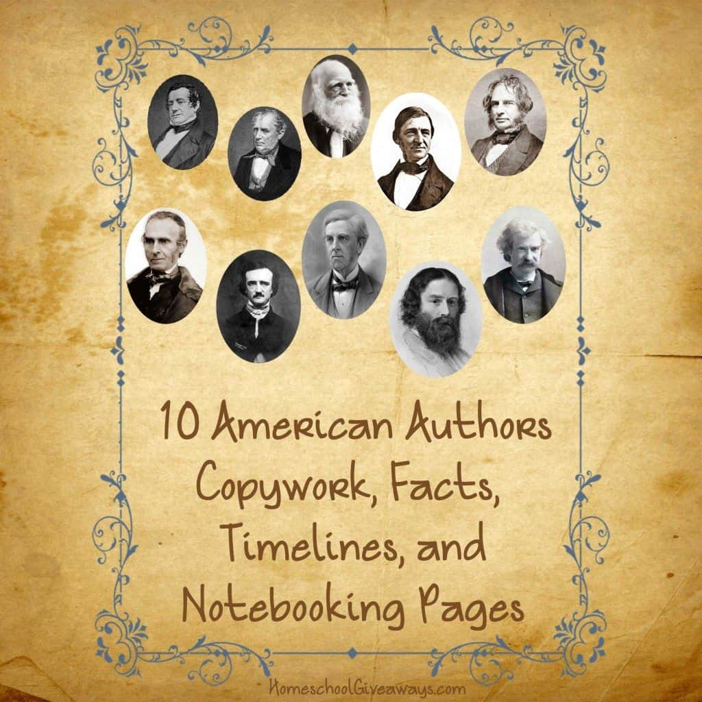 American Authors Copywork and Notebooking Roundup