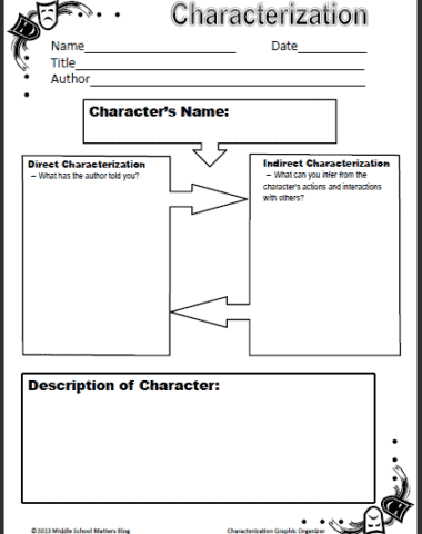 FREE Characterization Worksheet for Middle Schoolers www.homeschoolgiveaways.com Grab this free characterization worksheet to use with your middle school students!
