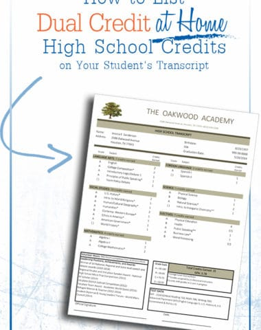 How to List Dual Enrollment Credits on Your Child's Transcript www.homeschoolgiveaways.com Great info for learning how to list your child's dual enrollment credits on his transcript!