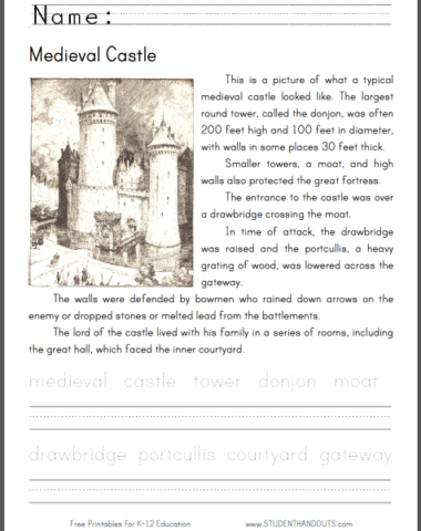 FREE Medieval Castle Worksheet and Lesson www.homeschoolgiveaways.com FREE worksheet and lesson on Medieval Castle!