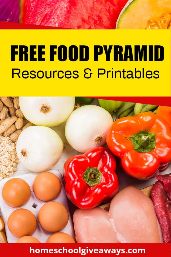 food spread out on a table with text overlay free food pyramid resources and printables