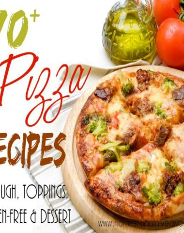 Tired of the same old pizza week after week? Check out some of these DELICIOUS pizza doughs, toppings, gluten-free pizzas and dessert pizzas! :: www.homeschoolgiveaways.com