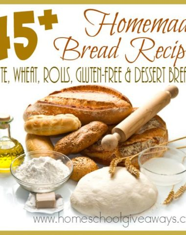 I love the smell of fresh baked bread! These 45+ homemade bread recipes are sure to make your mouth water and your kitchen smell amazing! Includes white, wheat, rolls, gluten-free & dessert breads. :: www.homeschoolgiveaways.com