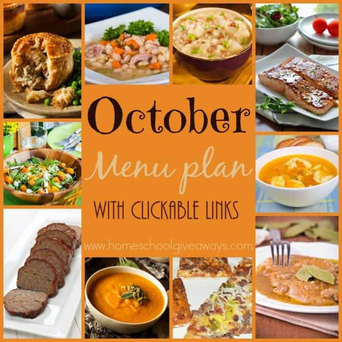 Fall is in the air and that means it's time for another month of meals to plan. Check out the YUMMY Fall dishes in this FREE October Menu Plan!! Downloadable PDF or save and use the clickable links. :: www.homeschoolgiveaways.com