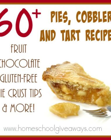Fall is almost here, which means more holidays and family gatherings. Make a delicious pie (or two) for your next family meal! Check out these 60+ recipes PLUS some tips & tricks for that perfect pie crust! :: www.homeschoolgiveaways.com