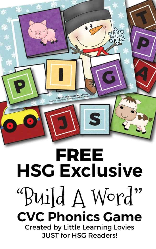 FREE Printable Phonics Game helps preschool, kindergarten and first grade children practice building CVC words.  Free from Homeschool Giveaways and Little Learning Lovies