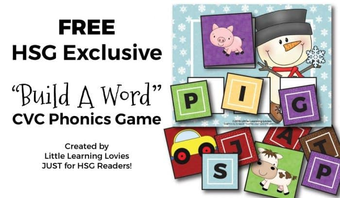 FREE Build A Word Phonics CVC Game EXCLUSIVELY At Homeschool Giveaways & Freebies, created by Little Learning Lovies.  ENJOY!
