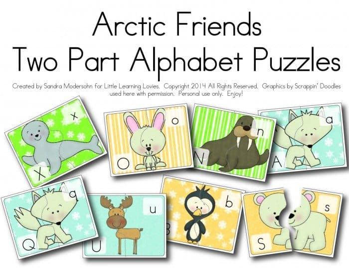 Free Arctic Friends two Part Puzzles and Memory Game from Little Learning Lovies