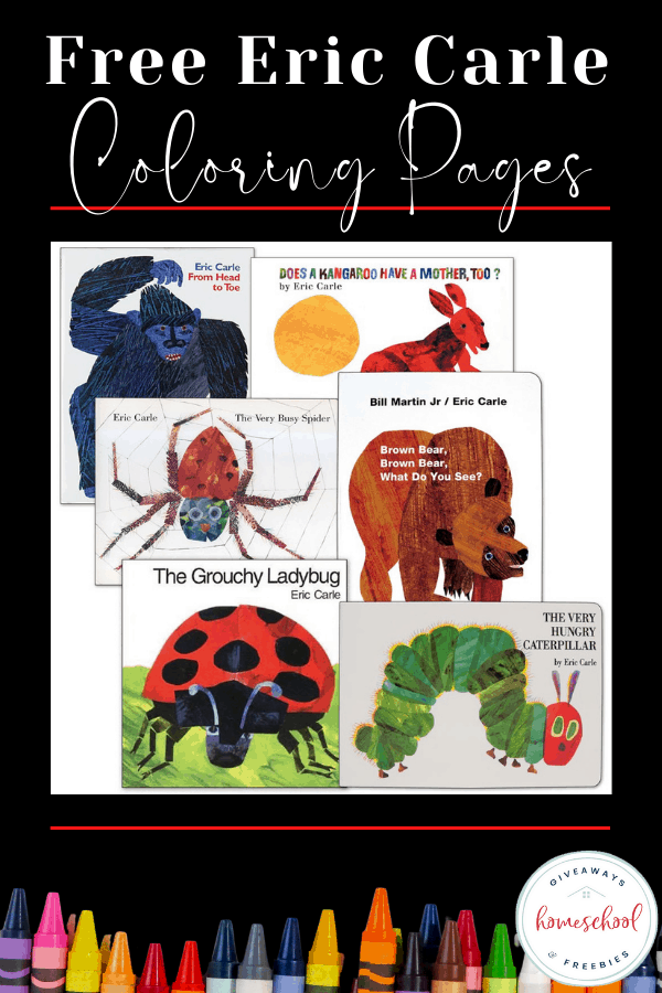 a collection of Eric Carle book cover images, and text overlay