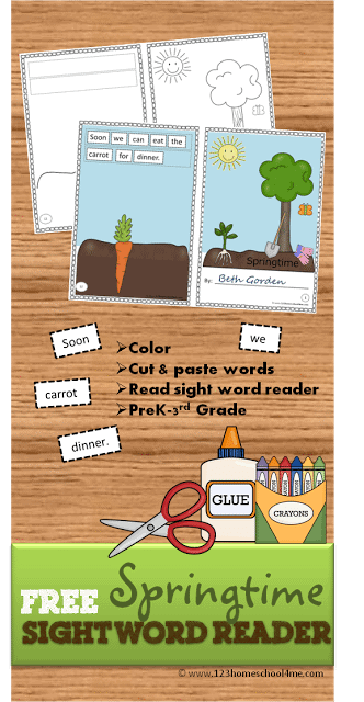 Spring Sight Word Reader for Preschool, Kindergarten, 1st grade, 2nd grde, 3rd grade