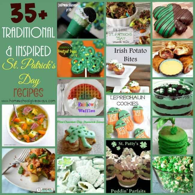Celebrate St. Patrick's Day in style and authentically with these traditional and inspired recipes!! Plus a few fun treats! :: www.homeschoolgiveaways.com