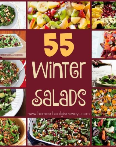 Looking to mix things up a bit from the winter soups? Check out these 55 DELICIOUS Winter Salad recipes with seasonal fruit and veggies! :: www.homeschoolgiveaways.com