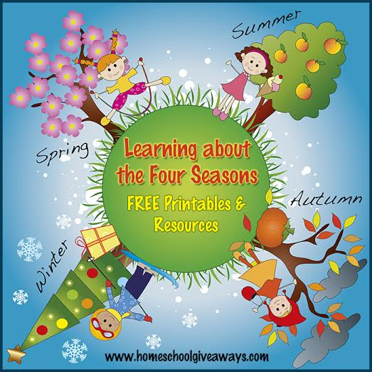 illustration of four season with funny children