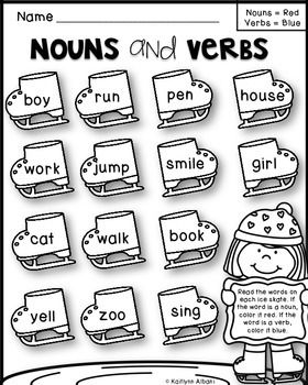FREE Printable First Grade Nouns and Verbs Worksheet ...