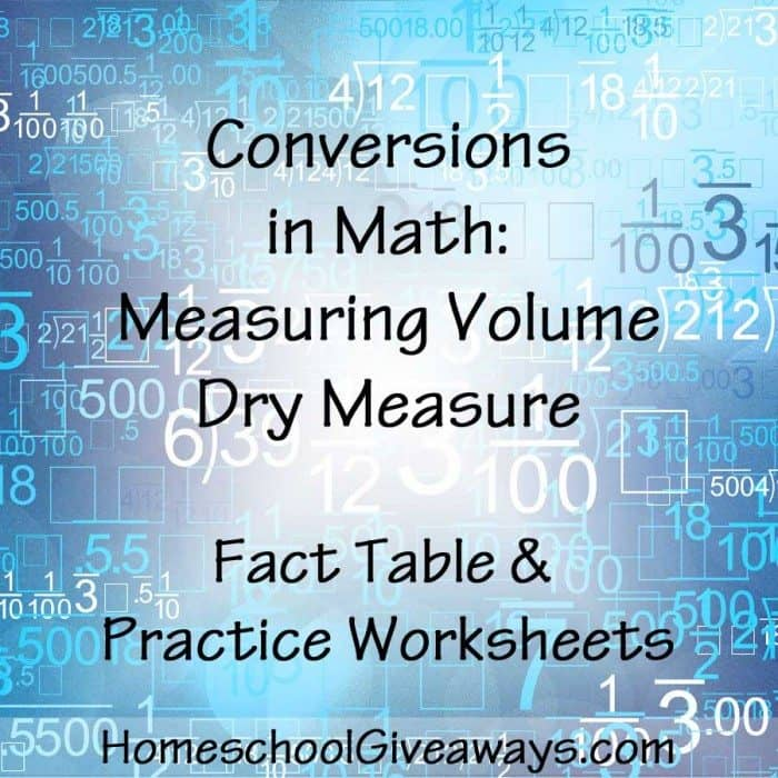 Conversions in Math Measuring Volume Dry Measure