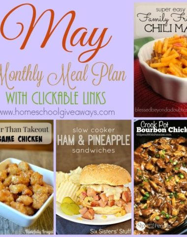 May is here and that means its time for a new meal plan to make dinners and shopping easy! Download your free menu today! :: www.homeschoolgiveaways.com