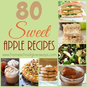 Looking for some sweet and delicious apple recipes. check out these. You'll find breakfast recipes, sauces, salads, main dishes, desserts and MORE! :: www.homeschoolgiveaways.com