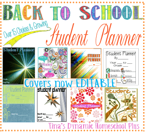 Student Planners and Covers @ Tina Dynamic Homeschool Plus