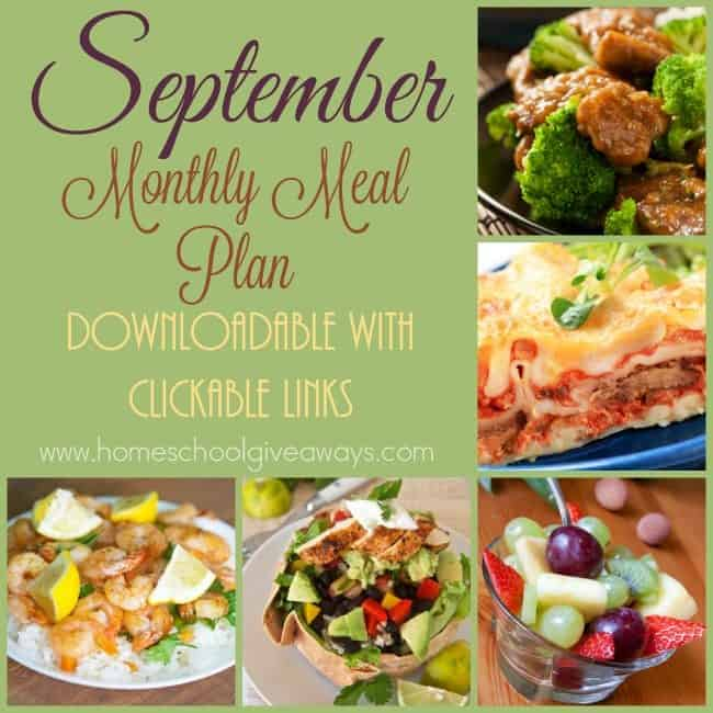 Check out another great meal plan for the month of September. Simply download and click each link to find the recipe! :: www.homeschoolgiveaways.com